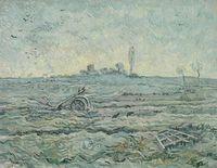 "Van Gogh: ""Schneebedecktes Feld mit Egge""."