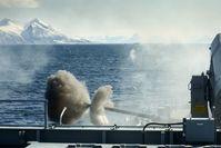 Landzielschießen, Naval Gunfire Support (NGS) mit dem Marinegeschütz Ota 76/62 Compact der Fregatte Hamburg im Rahmen der Missile Firing Exercise (MFE) Andoya 21. Bild: Volker Muth