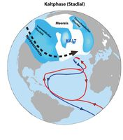"""Abbildung A: Die Nordhalbkugel im """"Stadial"""" (Kaltphasen) Quelle: Alfred-Wegener-Institut (idw)"""