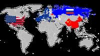 Großmächte: Vereinigte Staaten von Amerika (VSA/USA), Europäische Union (EU), Russische Föderation (Russland) und China