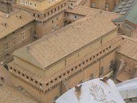 Ansicht der Sixtinischen Kapelle von der Kuppel des Petersdoms aus