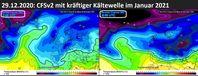 Es wird im Januar 2021 eisig und schneereich werden in Europa: Ingesamt kühlt das Klima immer weiter ab, Stand 31.12.2020