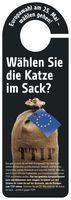 """Über 20.000 Campact-Aktive werden diese Türhänger am Samstag vor der Europawahl bundesweit verteilen./ Bild: """"obs/Campact e.V."""""""