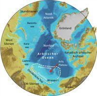 Karte der Arktis. Markiert ist jene Region Ostsibiriens, in der Spuren auf die Existenz urzeitlicher Quelle: Karte: Frank Niessen/IBCAO, Jakobsson et al. Geophysical Research Letters, doi: 10.1029/2012GL052219. (idw)