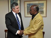 Jack Warner (right) meets then British Prime Minister Gordon Brown in 2009