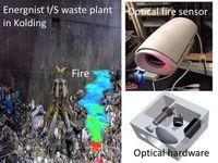 Laser-Brandsensor erkennt Feuer in einem Müllbunker.