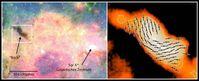 """Kosmische Dunkelwolke """"Brick"""" (Ziegelstein) in der Nähe des Galaktischen Zentrums. Quelle: T. Pillai & J. Kauffmann, auf der Grundlage von GLIMPSE- & MIPSGAL-Bildern vom Spitzer-Satelliten (NASA / JPL–Caltech / Univ. of Wisconsin) und dem Hertz–Empfänger am CSO (J. Dotson) (idw)"""