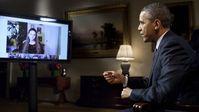 "U.S. President Obama diskutiert mit Bürgern bei ""Google Hangout""."