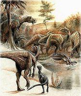 """Rekonstruierte Dinosauriervergesellschaftung am """"Egg Mountain"""" in Montana (USA) Bild: Pavel Riha = user Pavel.Riha.CB / de.wikipedia.org"""