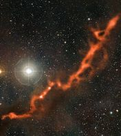 Komposit von Barnard 211 und 213 aus APEX-Submillimeterdaten (dargestellt in orange) und einem Bild im sichtbaren Licht Quelle: Bild: ESO/APEX (MPIfR/ESO/OSO)/A. Hacar et al./Digitized Sky Survey 2. Acknowledgment: Davide De Martin (idw)