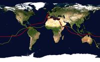 Rot: übliche Route einer Weltumsegelung, wie sie auch von Dekker geplant wird.[3] Gelb: Antipodenpunkt ihrer Route.