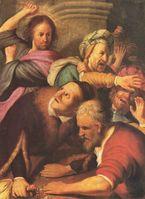 Jesus reinigt den Tempel mit voller Gewalt (Interpretation von Rembrandt)