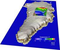 Modellierte Temperatur an der Basis des grönländischen Eisschildes, GRIP and GISP2: Lage der Bohrlöcher. Bild: A. Petrunin/GFZ
