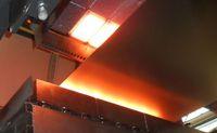 Stahlbandtrocknung nach Vorbehandlung mit Infrarot-Strahlungsporenbrenner ) Quelle: Foto: GoGaS Goch GmbH & Co. KG (idw)