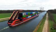 """PortLiner elektrische Schiffe. Bild: """"obs/H2 Industries SE/Omega Architects"""""""