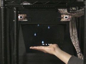 Virtuelle Regentropfen werden real fühlbar. Bild: University of Tokyo/Shinoda Lab