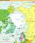 Politische Karte der Arktis, die Rote Linie ist die 10-°C-Juli-Isotherme