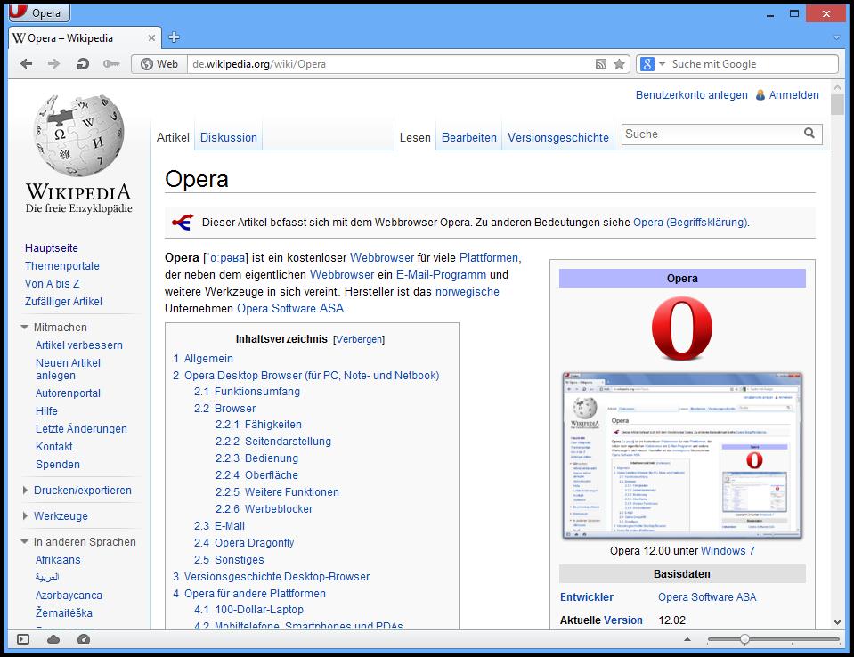 Opera 12.02 unter Windows 8. Bild: Screenshot: Benutzer:Das Schäfchen / Opera Software