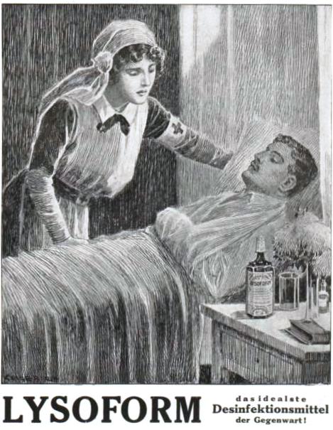 Werbung für das Desinfektionsmittel Lysoform für Kriegsverwundete (1917)