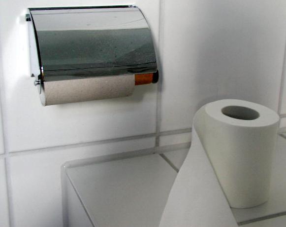 Toilettenpapier und Toilettenpapierhalter