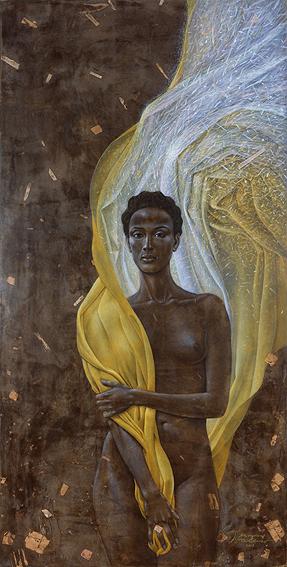 """Alesandrion, Portrait von Waris Dirie """"Mission"""" 2003, 200 x 100 cm, Mischtechnik auf Holz"""