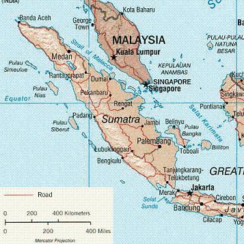 Karte von Sumatra Bild: U.S. Central Intelligence Agency