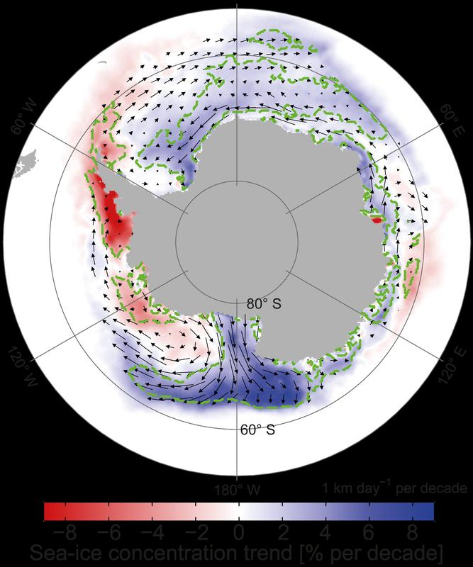 Abb. 2: Dekadische Veränderungen der mittleren jährlichen Meereiskonzentration und der Meereisdrift. Quelle: Haumann et al., 2014, Geophys. Res. Lett (idw)
