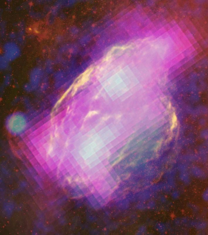 Die W44 Supernova-Überreste Quelle: Bild: NASA/DOE/Fermi LAT Collaboration, ROSAT, JPL-Caltech, and NRAO/AUI (idw)