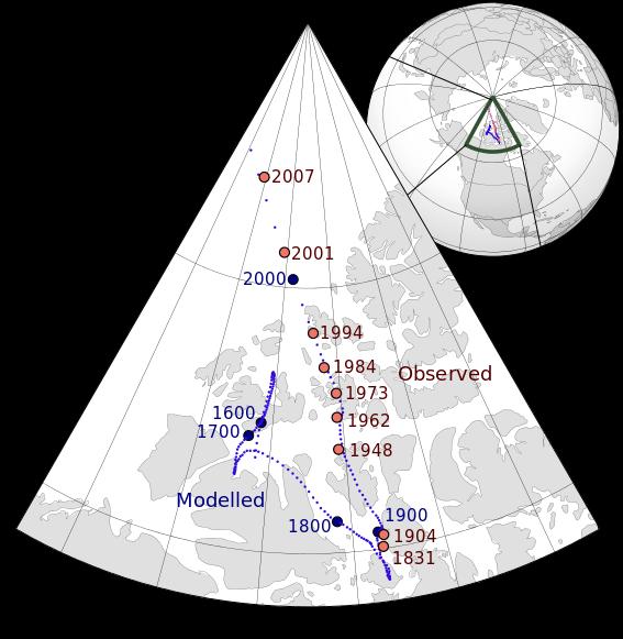 beschleunigte Wanderung des arktischen Magnetpols