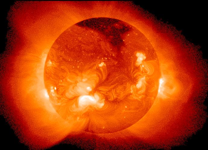 In hartem Röntgenlicht ist die Korona auch vor der Sonnenscheibe zu beobachten, hier durch Yohkoh.