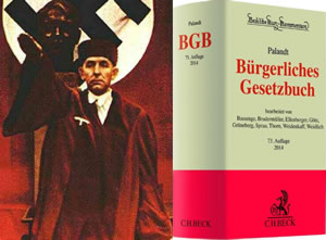 Ein Standart juristen Werk benannt nach dem Nazionalsozialisten Otto Palandt. Auch heute werden noch illegale Gesetze aus dem 3. Reich in der Bundesrepublik Deutschland angewandt und auch die Jusitz ist politisch Weisungsgebunden.(Symbolbild)