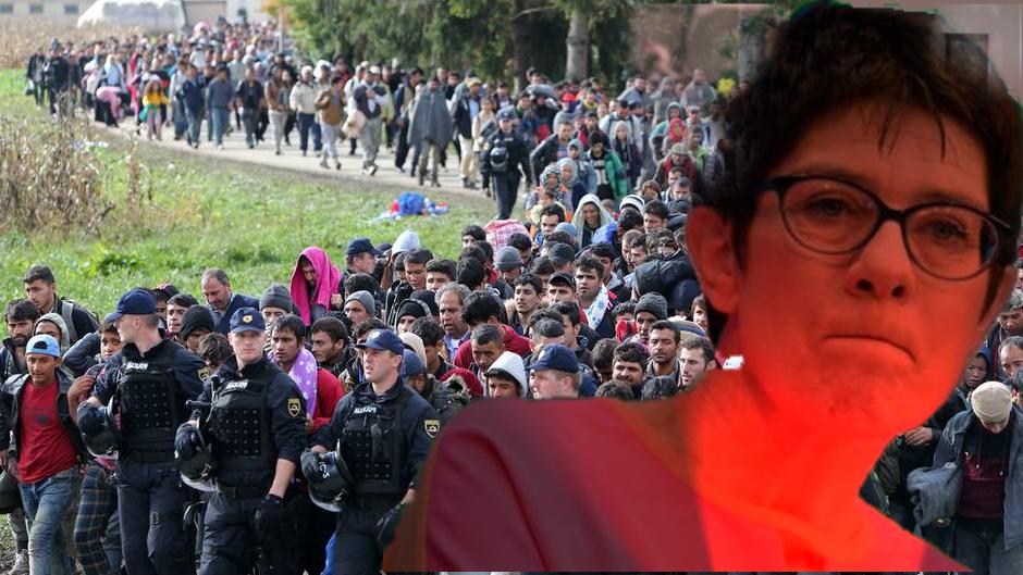 Annegret Kramp-Karrenbauer (2018) stellt sich hinter die von vielen für illegal gehaltenen Grenzöffnung der Regierung.