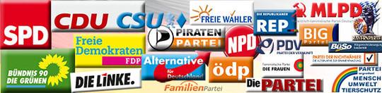 Logos div. Parteien (von Part=Teil): Parteien vertreten immer Einzelinteressen und können niemals dem Allgemeinwohl dienen...