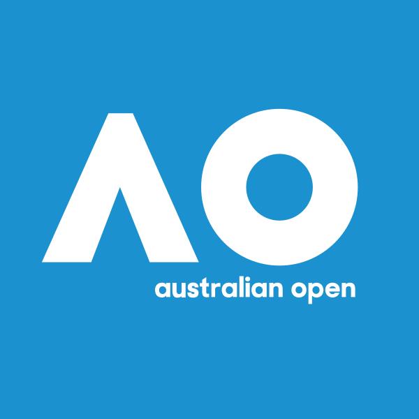 """Australian Open, kurz AusOpen oder AO; auch bekannt als """"Happy Slam"""" Logo"""