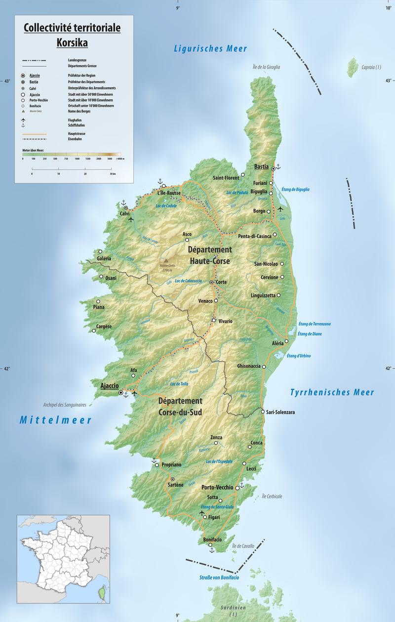 Reliefkarte Korsika