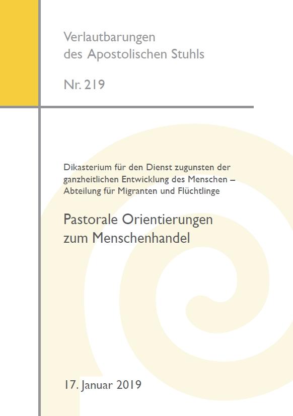 """""""Pastorale Orientierungen zum Menschenhandel"""": Deutsche Übersetzung des vatikanischen Dokuments veröffentlicht Bild: Cover"""