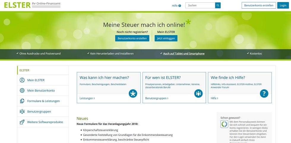"""Bild: Screenshot von der Webseite """"elster.de"""""""