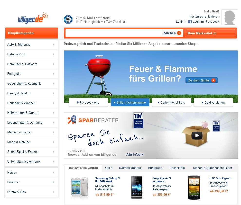 """Screenshot """"www.billiger.de"""""""