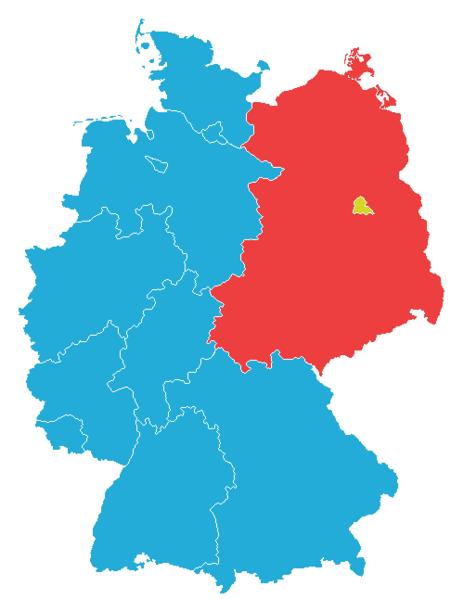 Westdeutschland als Synonym für das Gebiet der Bonner Republik (blau), hier in den Grenzen von 1963 bis 1990 und in Rot Ostdeutschland als Synonym für die DDR.