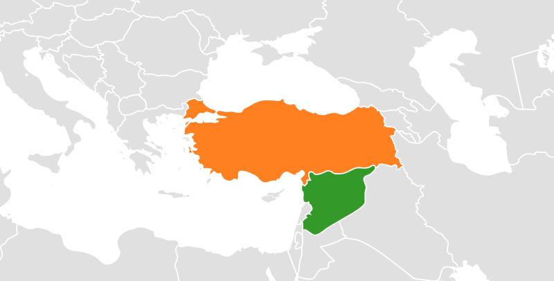 Lage der Türkei und Syriens