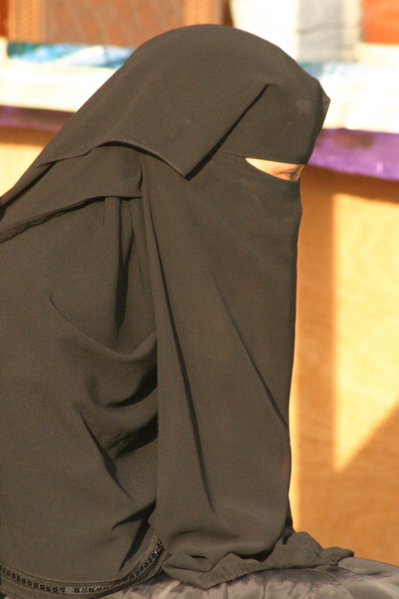 A woman wearing a niqāb. Under Saudi law, women are required to wear Hijab but niqab is optional.