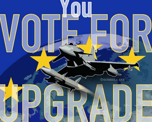 Ein Plakat, das vor einer Militarisierung Europas warnt