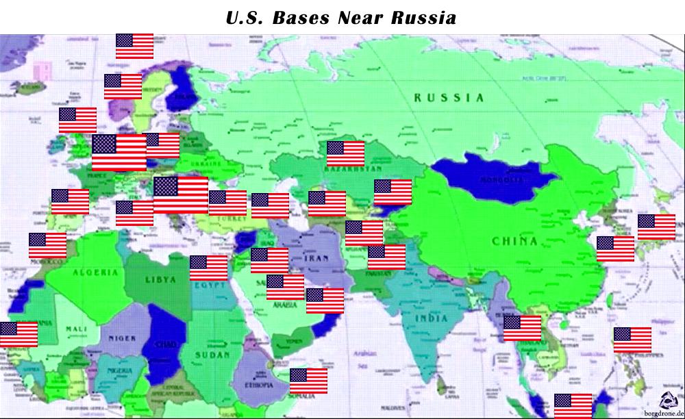 USA Militärbasen rund um Russland und Syrien.