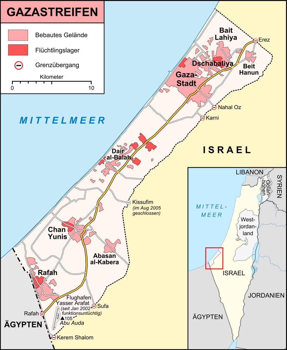 Rafah auf der Karte des Gazastreifens