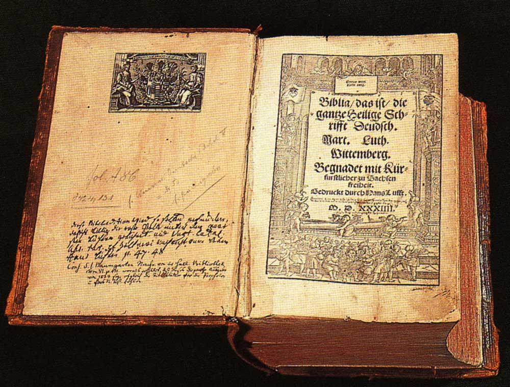 Die erste vollständige Bibelübersetzung von Martin Luther 1534, Druck Hans Lufft in Wittenberg, Titelholzschnitt von Meister MS