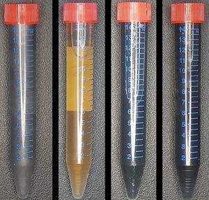 In vier Schritten vom Graphenoxid (li.) zum Graphen.