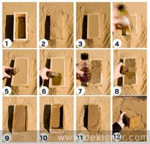Herstellung der Bio-Ziegel in Abfolge. Bild: Dexigner