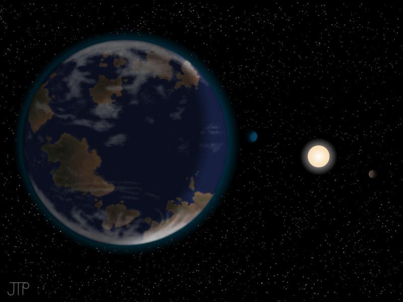 Künstlerische Interpretation des Planeten HD 40307g im Vordergrund (links), zusammen mit dem Stern HD 40307 und zwei weiteren Planeten (rechts). Die dargestellte Atmosphäre und Kontinente sind spekulativ und nicht durch diese Arbeit bestätigt. Quelle: Abbildung: J. Pinfield, RoPACS network, University of Hertfordshire. (idw)