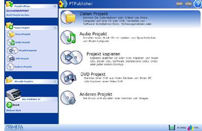 PT Publisher Start- und Auswahlmaske